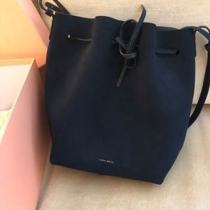 Mansur Gavirel Navy Suede Bucket Bag